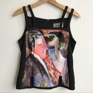 Vintage Linda Segal Art to Wear Blouse Black